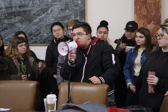 "Iowa State University students had to speak with President Wendy Wintersteen in Beardshear Hall over the phone during the ""Students Against Racism"" protest on Wednesday since she wasn't in the offce."