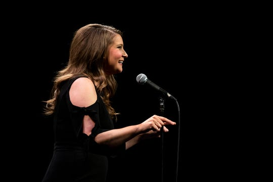 Rachel Corpus shares her story during the Des Moines Storytellers Project's True Tall Tales event Tuesday, Oct. 29, 2019, at Hoyt Sherman Place in Des Moines.