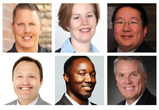 Waukee school board candidates Dan Gehlbach, Wendy Marsh, Michael Schrodt, Alex Smith, Terry Welker and Armel Traore dit Nignan.