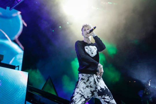 Machine Gun Kelly performs at Wells Fargo Arena on Tuesday, Oct. 29, 2019, in Des Moines.