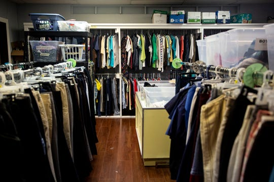 Clothing for the taking is set out at The Ankeny Klothing Exchange on Wednesday, Oct. 30, 2019, on the third floor of the Neveln Center, in Ankeny.