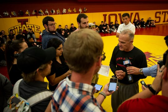 Iowa State head coach Kevin Dresser address the press during Iowa State Wrestling's media day on Tuesday, Oct. 29, 2019 in Ames.