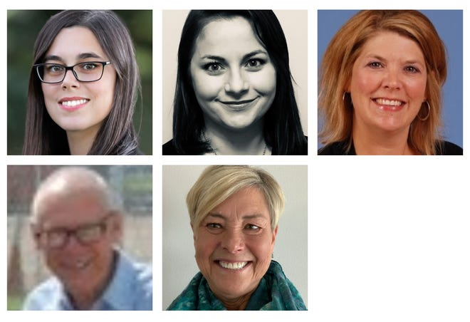 Urbandale school board candidates Ashley Anderson, Judy Downs, Brianna Sayre Geiser and John Hollebrands and Katherine Howsare.