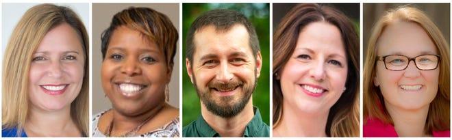 Des Moines school board candidates Heather Anderson, Dwana Bradley, Kalyn Cody, Kim Martorano and Kelli Soyer.