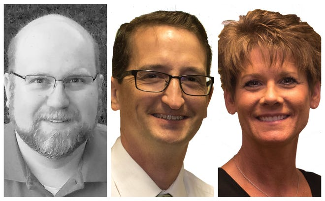 Saydel school board candidates Gary Christensen II, Doug Kayser and Jennifer Van Houten.