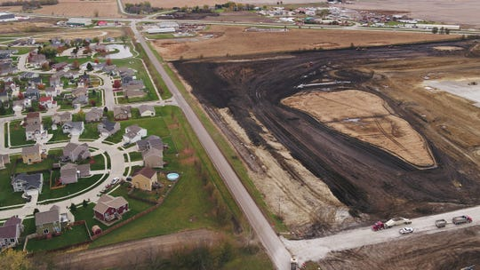 Drone shots of Amazon's Project Bluejay site on Wednesday, Oct. 30, 2019 in Bondurant.
