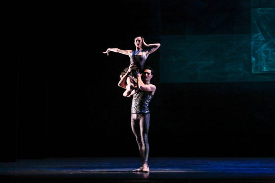 """Joffrey Ballet dancers Victoria Jaiani and Fabrice Calmels perform in """"Beyond the Shore,"""" a work created by choreographer Nicolás Blanc, the Joffrey's ballet master and principal coach. The work will be presented Nov. 2-3 as part of Michigan Opera Theatre's dance series at the Detroit Opera House."""