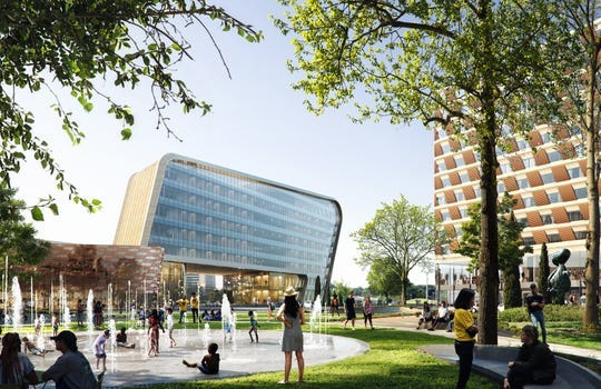 Rendering shows the planned University of Michigan Detroit Center for Innovation to rise on the east side of downtown Detroit.