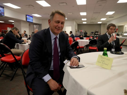 Edmonton Oilers GM Ken Holland in the media room before a game against the Detroit Red Wings on Tuesday, Oct. 29, 2019 at Little Caesars Arena in Detroit. It was Holland's first game against the Red Wings since leaving the franchise in April 2019.