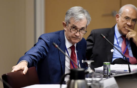 Federal Reserve Board Chairman Jerome Powell looks on during a meeting between the Finance Ministers and Central Bank Governors of the G7 nations during the IMF and  World Bank Fall Meetings on October 17, 2019 in Washington, DC.