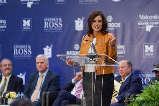 Michigan Governor Gretchen Whitmer speaks during a press conference on Wednesday, October 30, 2019 for the announcement of the new $300 million University of Michigan Research and Education Center and the 14-acre Detroit Center for Innovation at the site of the abandoned Wayne County Jail project in Detroit.