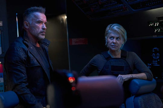 "Arnold Schwarzenegger and Linda Hamilton, reunited in ""Terminator: Dark Fate."""