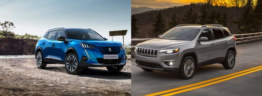 Peugeot's 2008 SUV, left, and the 2020 Jeep Cherokee Limited.