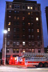 The Detroit Fire Department responds to a fire Tuesday evening on the sixth floor of the Hibbard Apartments at 8905 E. Jefferson in Detroit.