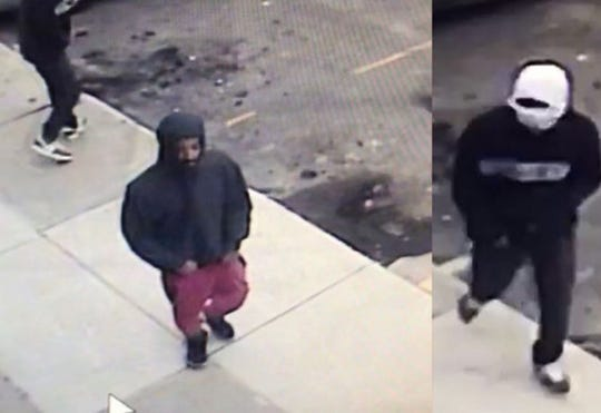 Chesterfield Township police are looking for these two men in connection to a robbery Tuesday in the parking lot of a store on Gratiot Avenue near 24 Mile.