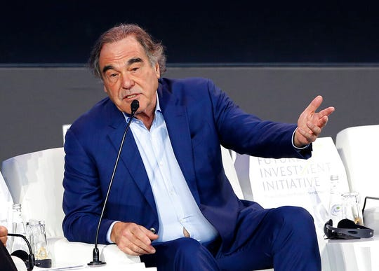 "American filmmaker Oliver Stone speaks during the Future Investment Initiative forum in Riyadh, Saudi Arabia, Wednesday, Oct. 30, 2019. Stone praised Russian President Vladimir Putin as a ""stabilizing force"" in the Middle East."