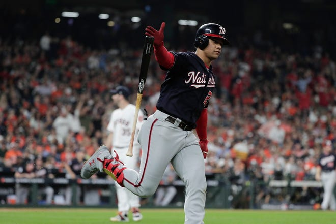 Washington Nationals' Juan Soto hits a home run during the fifth inning on Tuesday.