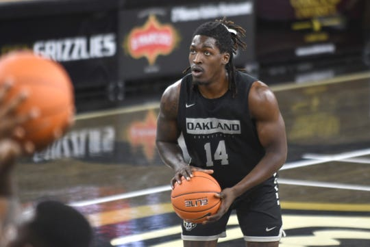 Xavier Hill-Mais finished with 15 points in Oakland's 61-60 loss at Youngstown State Thursday.