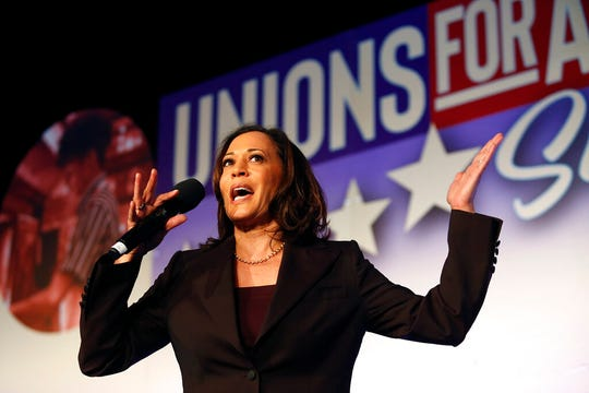 Democratic presidential candidate Sen. Kamala Harris, D-Calif., speaks at the SEIU Unions For All Summit on Friday, Oct. 4, 2019, in Los Angeles.