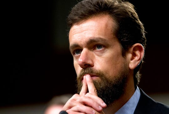 In this Sept. 5, 2018, file photo Twitter CEO Jack Dorsey testifies before the Senate Intelligence Committee hearing on 'Foreign Influence Operations and Their Use of Social Media Platforms' on Capitol Hill in Washington.