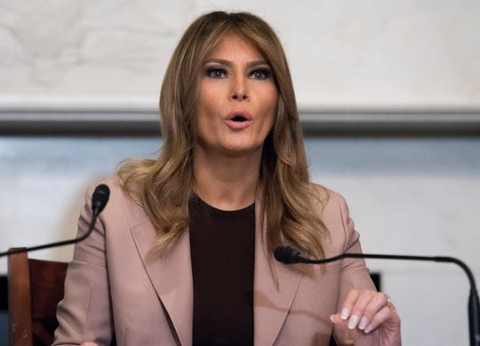 First lady Melania Trump participates in a roundtable discussion on the opioid crisis, on Capitol Hill in Washington, Wednesday, Oct. 23, 2019. The first lady marked the first anniversary of the President's signing of the SUPPORT for Patients and Communities Act and it's impact on the country.