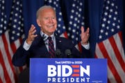 Democratic presidential candidate and former Vice President Joe Biden speaks at a campaign event, Wednesday, Oct. 9, 2019, in Rochester, N.H.  Biden allies formed an outside group this week that would allow wealthy individuals and corporations to spend massive amounts boosting his 2020 Democratic presidential bid.