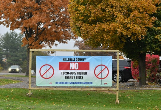 An anti-wind farm banner at Ross Design on U.S. 12 in Wheatland Township, Mich. on Oct. 29, 2019.