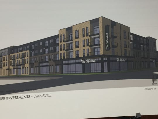 A rendering of the planned development at North Main and Illinois streets, the former IGA grocery site.