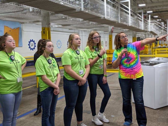 Students from area schools are shown the inside of Clyde's Whirlpool plant.