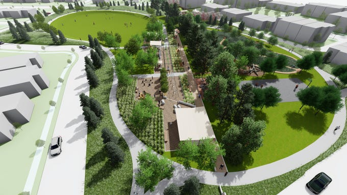 Rendering of an overhead view of Trail Head Park looking east. The park is expected to open in fall 2020.