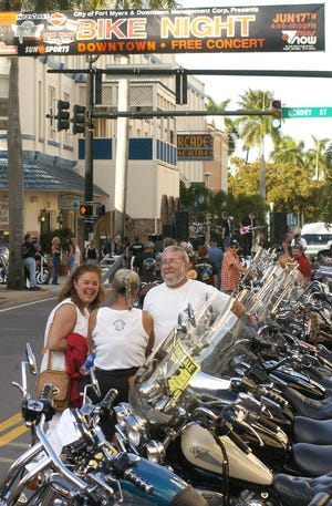 Motorcycles line downtown's First Street in 2004 during Fort Myers Bike Night