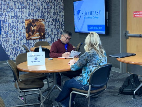 Automation engineering and software development student Julia Zirbes interviews with Foxconn at NWTC on Oct. 30, 2019.