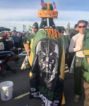 Edgar Reyes as Pack Vader makes the tailgating rounds outside Lambeau Field before the Philadelphia Eagles-Green Bay Packers game on Sept. 26.