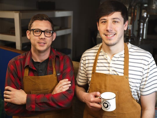 Jackson Smith, left, and Brad Van Laanen, right, have spent the last year teaching themselves the art and science of roasting coffee. This summer, after months of testing and improvement, they launched Howler Coffee Co., a small batch, single-original coffee roaster where they not only roast the beans, but deliver them to your door.