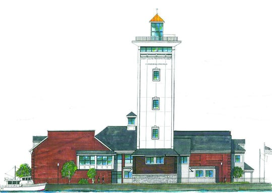A rendering of the planned expansion of the Door County Maritime Museum in Sturgeon Bay, with a new 10-story tower holding electronic, interactive exhibit space and an observation deck