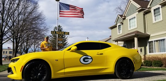 Edgar Reyes makes the drive from his home in the Chicago suburbs to Packers games at Lambeau Field in his 2017 Camaro.
