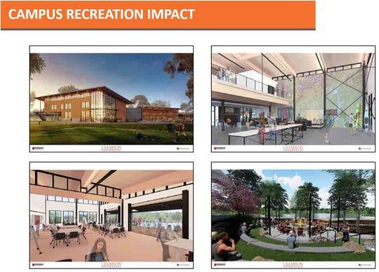 Renderings of Snow Outdoor and Wellness Center presented to the Board of Trustees in October.