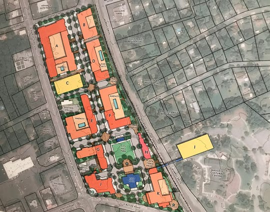 A conceptual design for Mauldin's planned city center project.