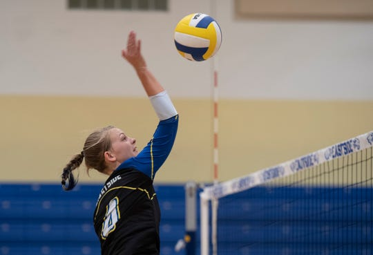 Eastside's Tabitha Wheeler (4) hits the ball over the net during the match against Daniel High School at Eastside High School Tuesday, Oct. 29, 2019.