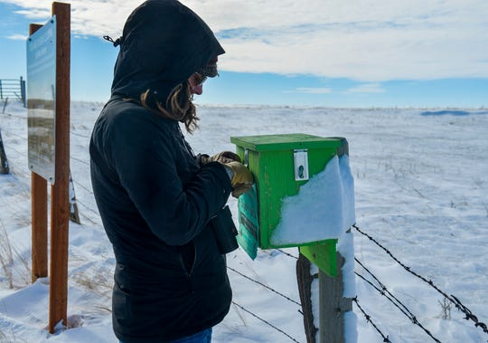 Erin Fairbanks, a biologist working with Pheasants Forever checks the sign in box at block management area #193, a 280 acre block of land on the Teton River north of Dutton that was acquired by Pheasants Forever from a private land owner in 2018.