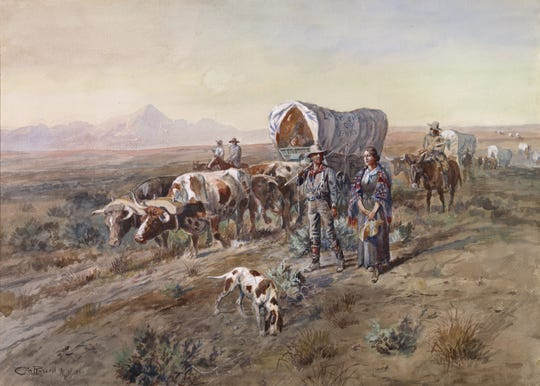 "Charles M. Russell's ""Last Chance or Bust"" is part of the C.M. Russell Museum's collection."