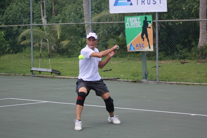 Khan Truong defeated Mark Burgos 7-5, 6-4 in the Men's 4.5 division championship match of the 2019 ASC Family Classic.