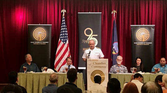 Rear Adm. John Menoni, Joint Region Marianas commander, speaks to the Guam Chamber of Commerce on Wednesday, Oct. 30.