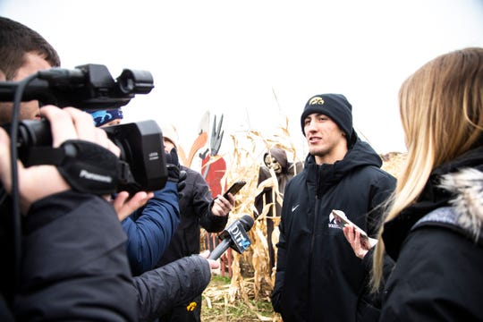 Michael Kemerer discusses his long-anticipated Iowa wrestling return during the team's media day at Kroul Farms in Mount Vernon on Oct. 30. He'll be in the lineup at 174 pounds when the Hawkeyes wrestle Chattanooga on Sunday.