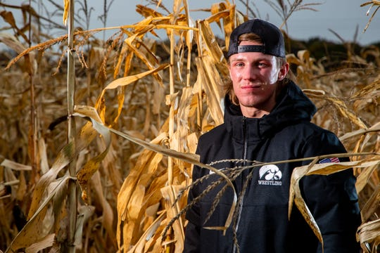 Max Murin stands for a photo during Iowa Wrestling media day at Kroul Farms in Mount Vernon Wednesday, Oct. 30, 2019.
