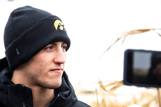 Iowa's Michael Kemerer talks with reporters during Hawkeyes wrestling media day, Wednesday, Oct., 30, 2019, at Kroul Farms in Mount Vernon, Iowa.