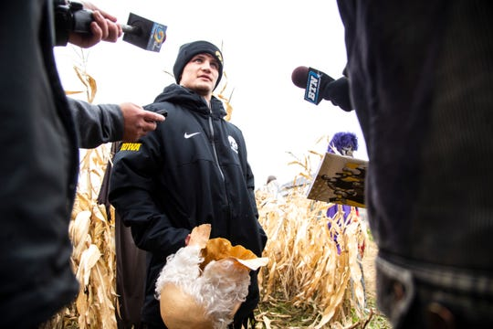 Iowa's Gavin Teasdale talks with reporters during Hawkeyes wrestling media day, Wednesday, Oct., 30, 2019, at Kroul Farms in Mount Vernon, Iowa.