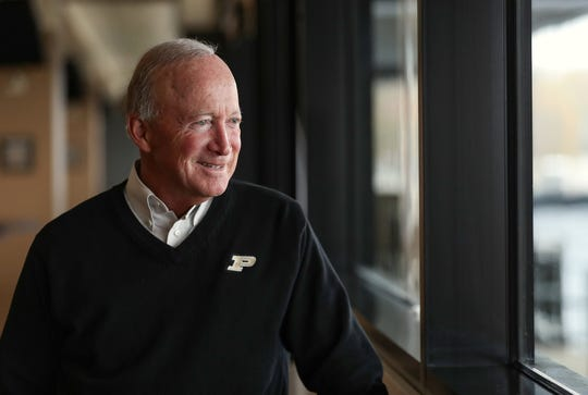 Purdue University president Mitch Daniels is seen during an interview with IndyStar at Ross-Ade Stadium in West Lafayette, Ind., Tuesday, Oct. 29, 2019