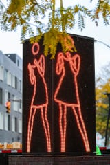 "The new ""Ann Dancing"" electronic sculpture was installed on Mass Ave, Wednesday morning, Oct. 30, 2019."