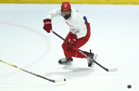 Kyle Betts (11) during Cornell University Big Red Hockey practice at Lynah Rink on Wednesday, October 29, 2019.